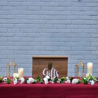Burgundy rustic wedding reception table (with ang pow / angpow box)