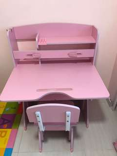 Children wood study table + chair (pink)