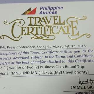 PAL TRAVEL CERTIFICATE