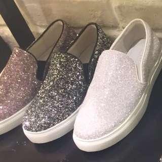 Pazzion Loafers Sneaker Sz 39 White Glitter 8927-1