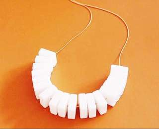 White Block Necklace