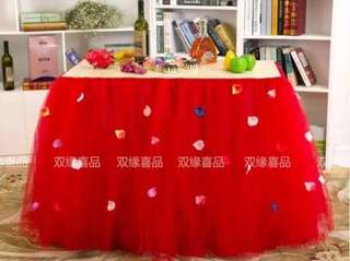 Red tutu table skirting