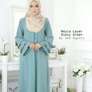 Neyla Jubah Dusty Green / Rosey Purple / Teal Green /