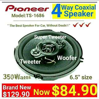 "PIONEER 4 Way 360 Watts  Coaxial woofer Speaker ( 16cm/6.5"" ) with Balanced dome Tweeter & Super Tweeters. Model: TS-A1686. 30 days warranty. Usual price: $169.90. Special Price: $84.90 (Brand New in Box & Sealed)"