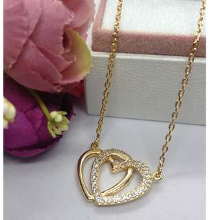 Authentic Bangkok Gold 10k Saudi Gold Twin Hearts Centered Chain Necklace with Zirconia Stones (Not Pawnable)