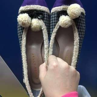 Jelly Beans 千鳥格 波波球 毛毛平底鞋 size 24.5cm