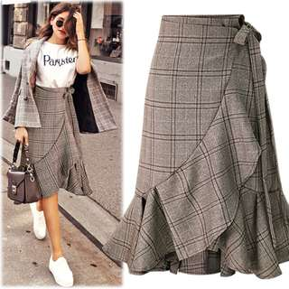[3 for $60] Ruffle Hem Plaid Wrap Skirt