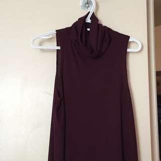 Burgundy Turtle Neck Dress