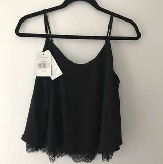 BNWT Yishion black top with lace