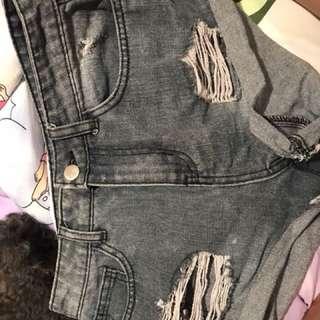 Black/grey distressed shorts