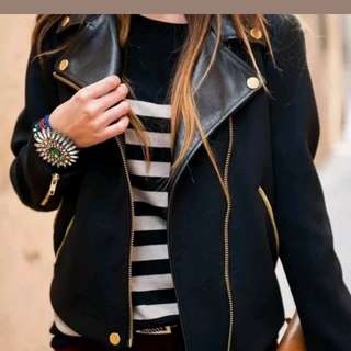 Zara Moto biker jacket Black with leather lapels
