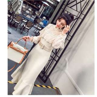 Korean autumn winter with a bottom fish skirt long sleeve show thin lace dress
