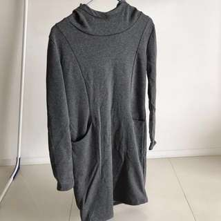 BN Grey Pullover Dress with Hood