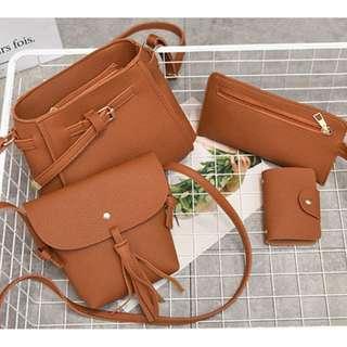Korean stylish Fashion Design 4 in 1 Sling bag set (Brown / Black)