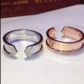 Double c ring unisex couple ring
