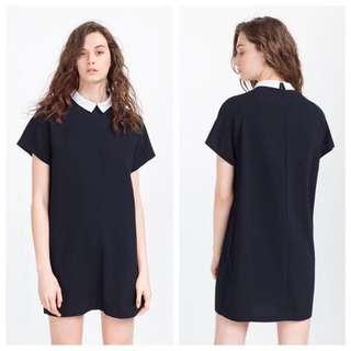 Zara Straight Cut Dress With Collar In Navy XS