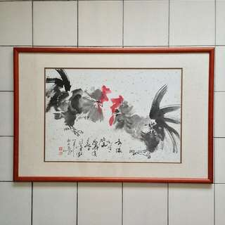 80s Chinese Painting with frame size 57x86cm