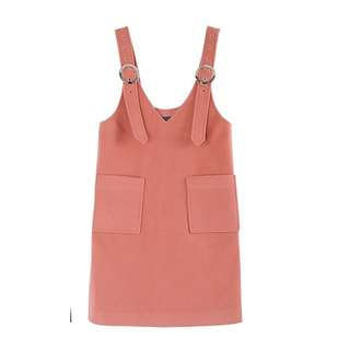 Korean Pinafore Lobster peach with front pockets