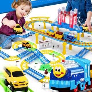 小火車套装軌道玩具電動3-67男孩寶寶赛車過山車拖