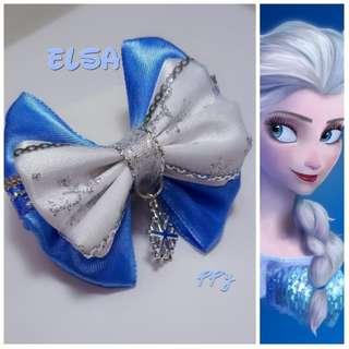 手作-艾莎Elsa 蝴蝶結 髮飾 鑰匙圈