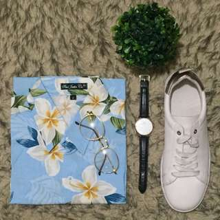 Light Blue with Floral Patterned Button Down Polo