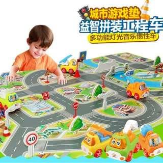 交通場景模拟圖遊戲爬行地墊燈光音樂惯性迷你工程車套装兒童玩具