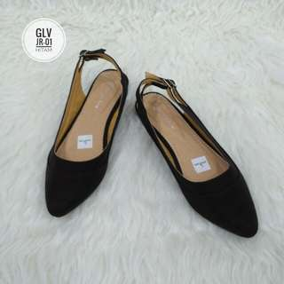 Flatshoes Murah - Flatshoes Green Love JR-01 Hitam