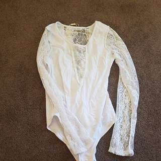 White leotard new with tags s L