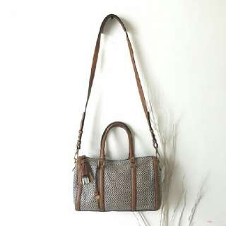 fossil kendal natural anyam pvc satchel,AUTHENTIC!!..LIKE NEW!