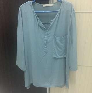ZARA baby blue blouse