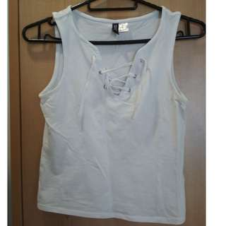 H&M White Cotton Laced-up Top (Sz XS)