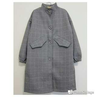重磅灰格口袋長版外套