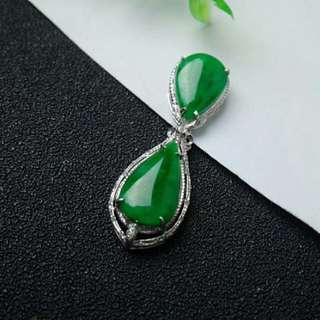 🎇18K White Gold - Grade A Spicy Green Cabochon Jadeite Jade Pendant🎇