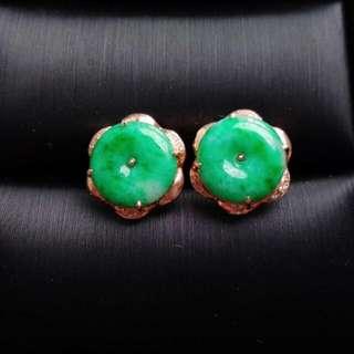 🏵️18K Gold - Grade A 冰糯 Green Coin/平安扣 Jadeite Jade Earrings🏵️