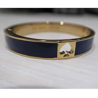 Kate Spade Women Hole Punch Spade Navy Blue Gold Tone Bangle