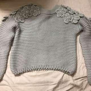 紫灰(薰衣草色)手抅毛衣(日本製)