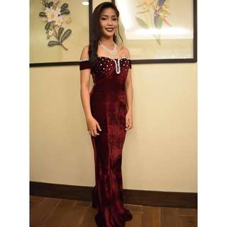 Maroon Offshoulder Prom Dress or Debut Gown for rent
