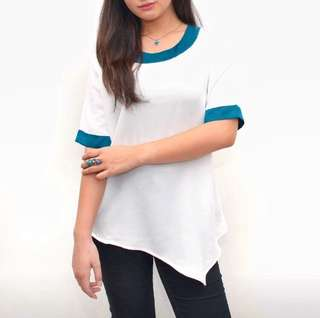 Asymmetrical Blouse with Turquoise Stripe