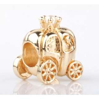 Gold Carriage Wagon Pearl Charm