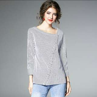 Korean Style Oblique v neck striped blouse. PO