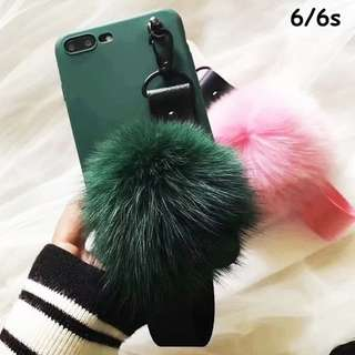 FASHION FUR BALL SOFTCASE FOR IPHONE TYPES