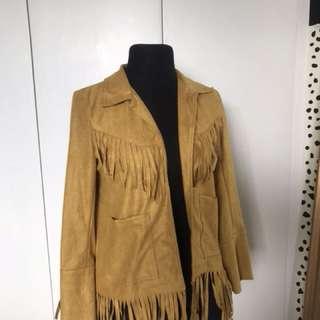 Yellow Suede Fringe Jacket