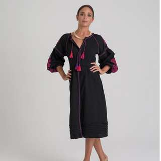 Embroidered Dress - Black with Red Stitching