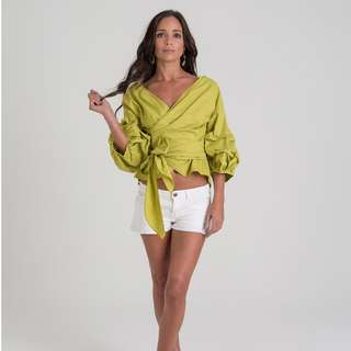Ruched Sleeve Wrap Top - Green