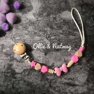 Silicone and Wood Teething Clip