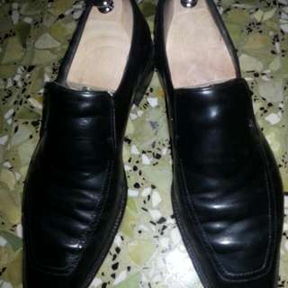 Authentic Custom Made A. Testoni Black Leather Shoes