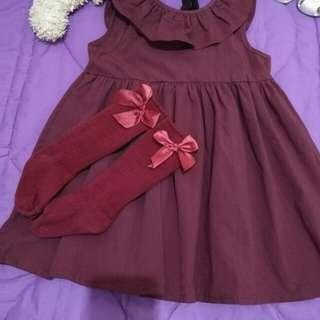 Maroon dress with kneesocks