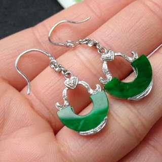 🎍18K White Gold - Grade A Full Green Unique Jadeite Jade Earrings🏵️