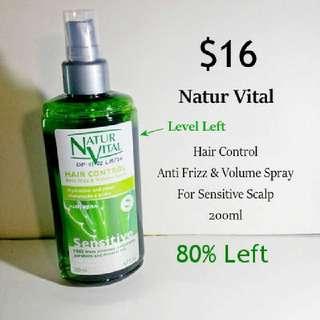 Used Natur Vital Hair Control Spray Sensitive Scalp Anti Frizz Volume