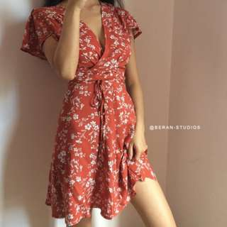 Wrap Dress, French styled in Red